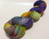 Yellow Egg 3 on Max 80/20 SW Merino Nylon Hand dyed fingering weight sock yarn