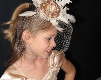 Vintage flower girl headpiece, Feather flower girl headpiece, Flower girl lace and burlap head band, Champagne flower headpiece.