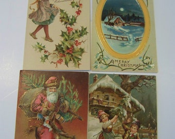 Antique Christmas post cards lot of 4- 115 years old!