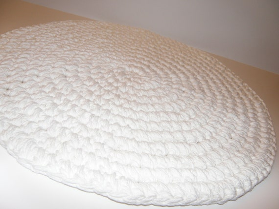 Crocheted Round Bath Rug Very Thick And By Cottagecovecrochet