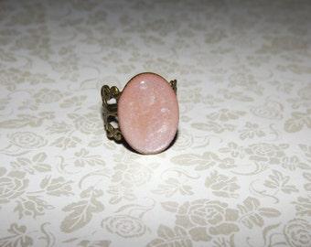 Pink Blush Opal Marble Ring