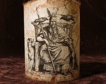 Odin Candle holder/ luminary with mango leaf paper - Norse God Odin