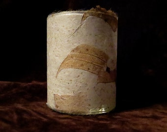 Votive candle holder/ luminary with natural real leaf paper. Each one is an original, one-of-a-kind piece of art.