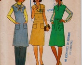 """Vintage 1970s Dress Or Jumper and Pants Sewing Pattern, Simplicity 7577 Simple-To-Sew, Size 10, Bust 32 1/2"""" (83cm), Free US Shipping"""