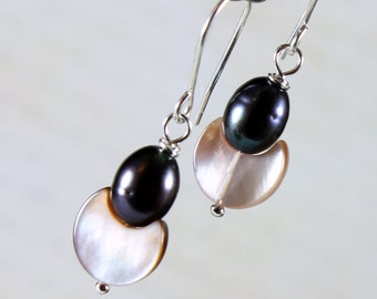 Peacock-Peach Earrings, Sterling Silver, fine pearl earrings, shell, mother of pearl, dangle, June birthstone, holiday gift for her, ER2742