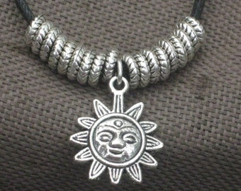 Necklace-Charm Necklace-Sun charm Necklace-Black and Silver Jewelry-Silver-Silver Charms-Inspirational Jewelry-Happy Sunshine Necklace