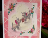 Valentine's Day Card with Two Cute Scottish Terriers