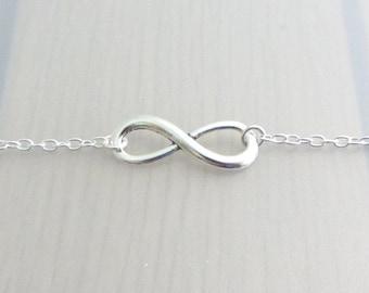 Silver Infinity Charm Bracelet, Adjustable Silver Infinity Bracelet, Silver Plated Chain Bracelet