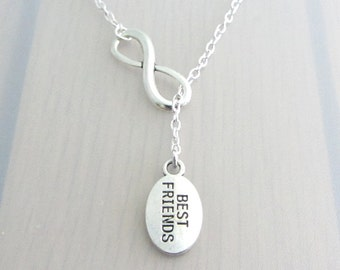 Infinity Charm Lariat Necklace, Silver Best Friends Necklace, Friendship Gift, Silver Plated, Stainless Steel, Sterling Silver Chain