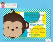 Monkey Baby Shower Invitations - Printed Baby Shower Invitations - Custom Invitations