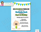 Mustache 1st Birthday Invitations - Printed Invitations - Custom Invitations