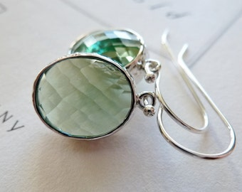 Prasiolite Green Glass Bezel Earrings / Sage Green Oval / SimplyJoli Dangle Earrings