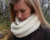 Infinity scarf, long cowl,  double wrap hand knit in natural Peruvian highland wool and super fine alpaca, ready to ship