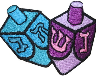 ID #8252 Pair of Dreidels Jewish Teetotum Hanukkah Game Iron On Applique Patch