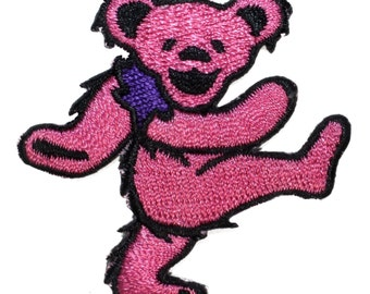 Grateful Dead Smaller Pink Dancing Bear Rock Band Icon Iron On Applique Patch