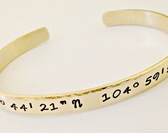 Personalized Coordinate Hand Stamped Nu-Gold Cuff Bracelet- Custom Latitude Longitude Jewelry- Mommy, Going Away, Wedding, Sister Gift Idea