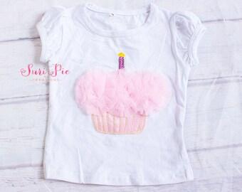 Baby Girl Birthday Cupcake Top..Baby Girls Birthday Outfit...Cake Smash Outfit..Baby Girl's Cupcake Shirt..Girls T-shirt..Cupcake Pink Top