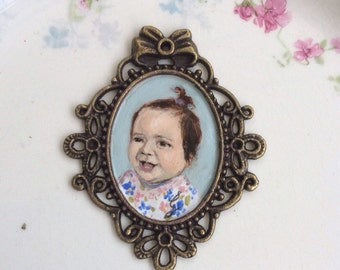 Hand painted vintage Brooch with your child