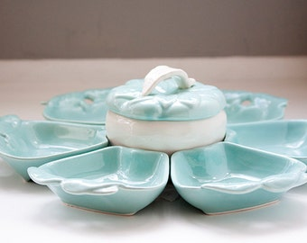 Vintage Hoenig of California Party Serving Set, Turquoise Apple Serving Set