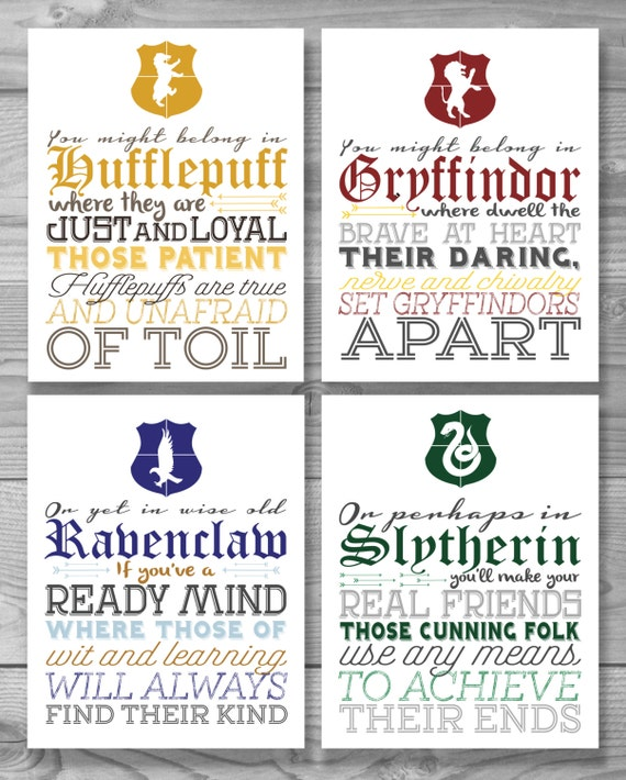 Hogwarts House Typography Poster Set (Buy 3 get 1 free)