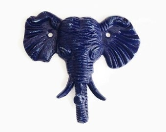 Elephant Childrens Coat Hook. Safari Decor. Necklace Display. Key Hook. Towel Hanger. Eclectic Modern Decor. Navy Elephant Nursery Decor