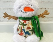Snowman Plush Minky Rag Doll - customized - dinosaur - made to order