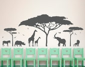 African Safari Wall Decal - Zoo Wall Decal, African Decal, Nature Wall Decal, Giraffe Wall Art, Safari Nursery Decor, Elephant Wall Decor