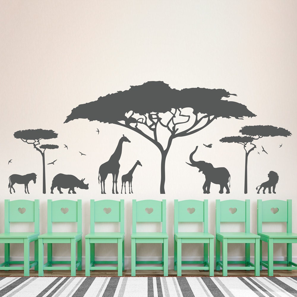 african safari wall decal zoo wall decal african decal. Black Bedroom Furniture Sets. Home Design Ideas