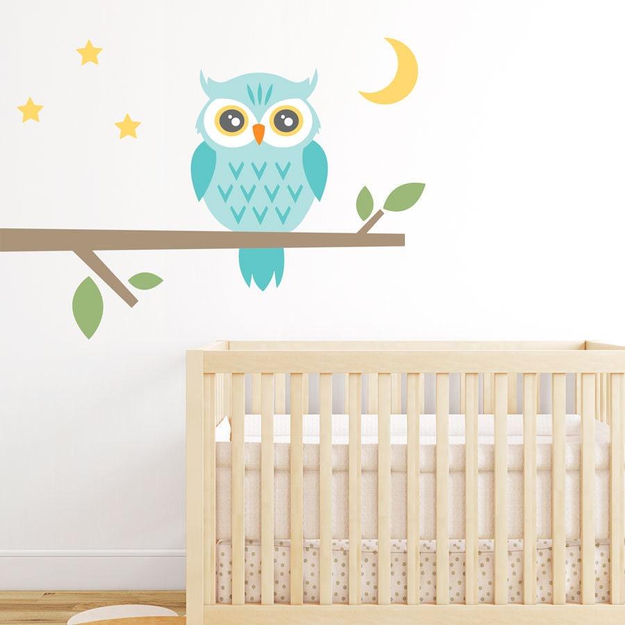 Night Owl Printed Wall Decal Nursery Tree Sticker Owl Branch