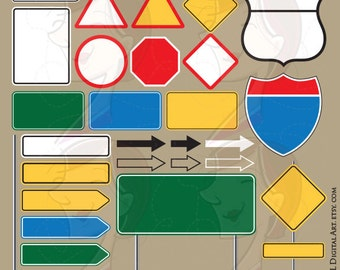 Blank Road Signs Highway Interstate Signage Empty Street Signs Graphics Poles Arrows Yellow Green Blue Red Signboard Clipart Png Files 10568