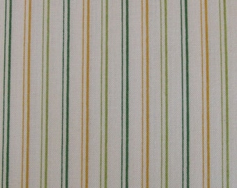 Green and yellow stripes / Makower / Patchwork quilting fabric