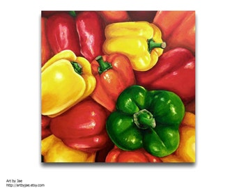Peppers Large Painting Kitchen Decor Realistic Painting Large Wall Art