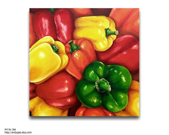 Peppers Large Painting Kitchen Decor Realistic Painting Large