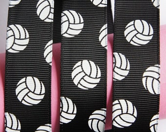 "10Yd Volleyball 7/8"" Black Grosgrain Ribbon"
