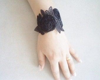 Flower Girl Bracelet, Wedding Jewelry, Bridal Jewelry, Flower Girl Jewelry, Black Lariat Bracelet, Brides Bracelet, Trending Jewelry