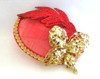 Red Butterfly Fascinator, Kentucky Derby Hat, Handmade Fascinator, Tea Party Hat, Glam Fascinator