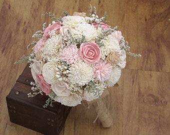 Wedding Bouquet, Sola wood Bouquet, Burlap pink Bouquet, Alternative bridal Bouquet, blush Bouquet, Sola flowers, Wood Bouquet