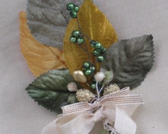 Vintage Green & Gold Millinery Bundle - Corsage, Boutonniere, Embellishment, Gift Decoration - OOAK - Trim, Notions, Supplies