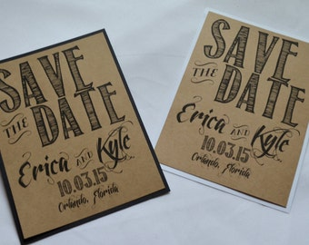 Save the Date Cards kraft save the dates rustic save-the-date cards black kraft save the date white kraft save the dates country chic cards