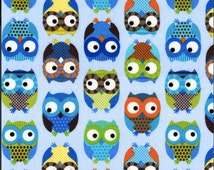 Owls Flannel Blue - Fat Quarter Cut - Timeless Treasure - Flannel Fabric - Owls Fabric - Blue  Fabric