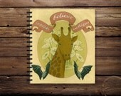 spiral notebook, mini journal, blank notebook, travel stationary, pocket notebook, animal art, victorian, vintage, retro, pastel, giraffe