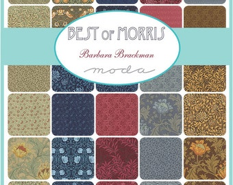 "Moda Sample Spree Sale Best of Morris Charm Pack Fabrics 42 - 5"" Fabric Quilt Squares Kit"