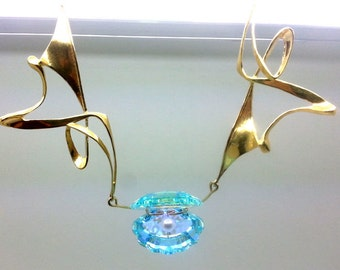Crystal Mother of Pearl Gold Necklace - ID: 0 - 35393