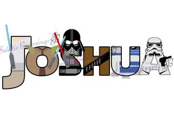 Personalized Custom Disney Star Wars Letters Name Digital File DIY Print Iron On Luke Leia Yoda Darth Vader Chewbacca R2D2 C3P0