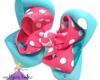 Medium Double Layer Boutique Bow, Two Layer Boutique Bow, Two Layer Bow, Double Layer Polka Dot Bow