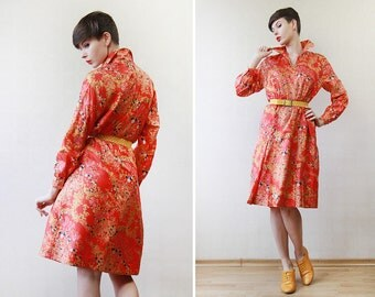 Red yellow floral print pure silk long sleeve knee length dress