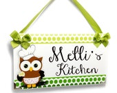 personalized brown chef owl with an apron kitchen cupcake hanging door sign - P758