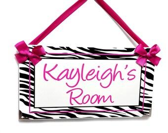 zebra girls room decor -  black white and  pink lettering girls room plaque - animal pattern door sign - P563