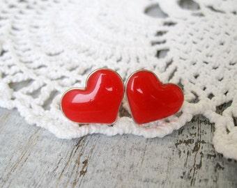 Red Heart Stud Earrings Small ear posts
