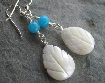 Mother of Pearl Earrings, Sterling Silver, Aqua Blue Quartz Earrings, Shell Earrings, Teardrop Earrings, Dangle Drop, Beach, READY To SHIP